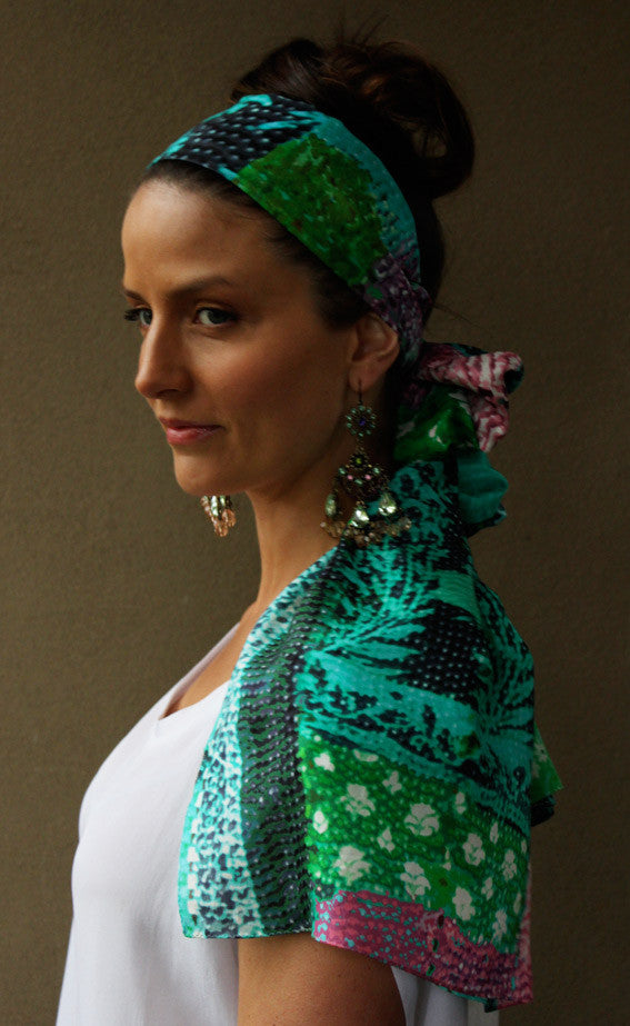 ONE LEFT Selina Green - Silk Scarf