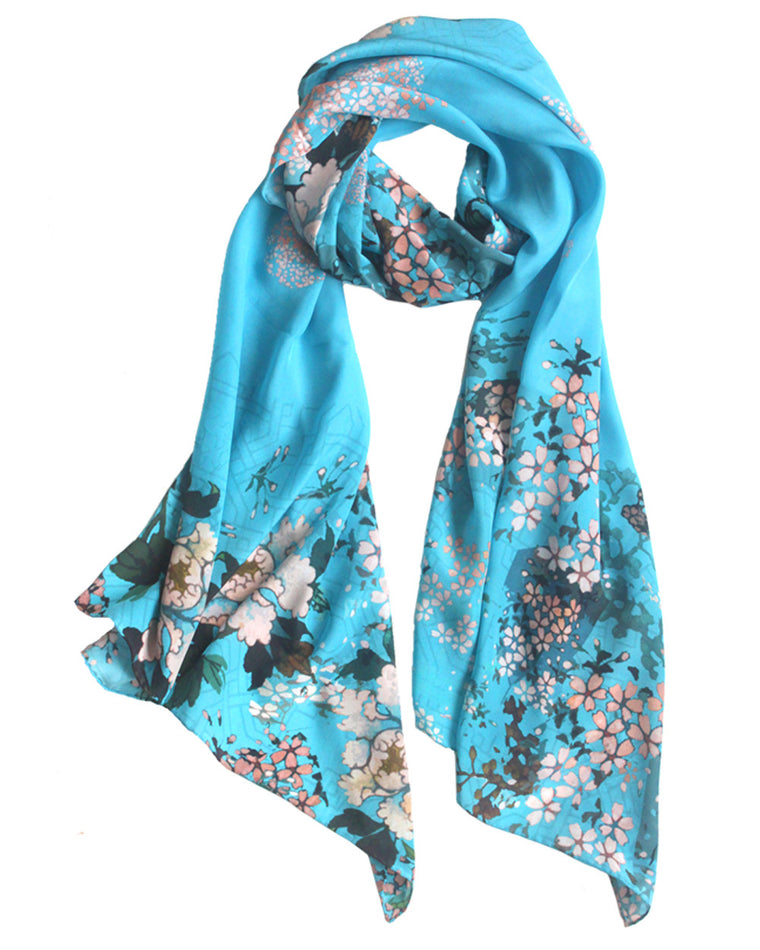 Silk scarf adorned with original artwork, Japanese floral inspired design in Summer hues