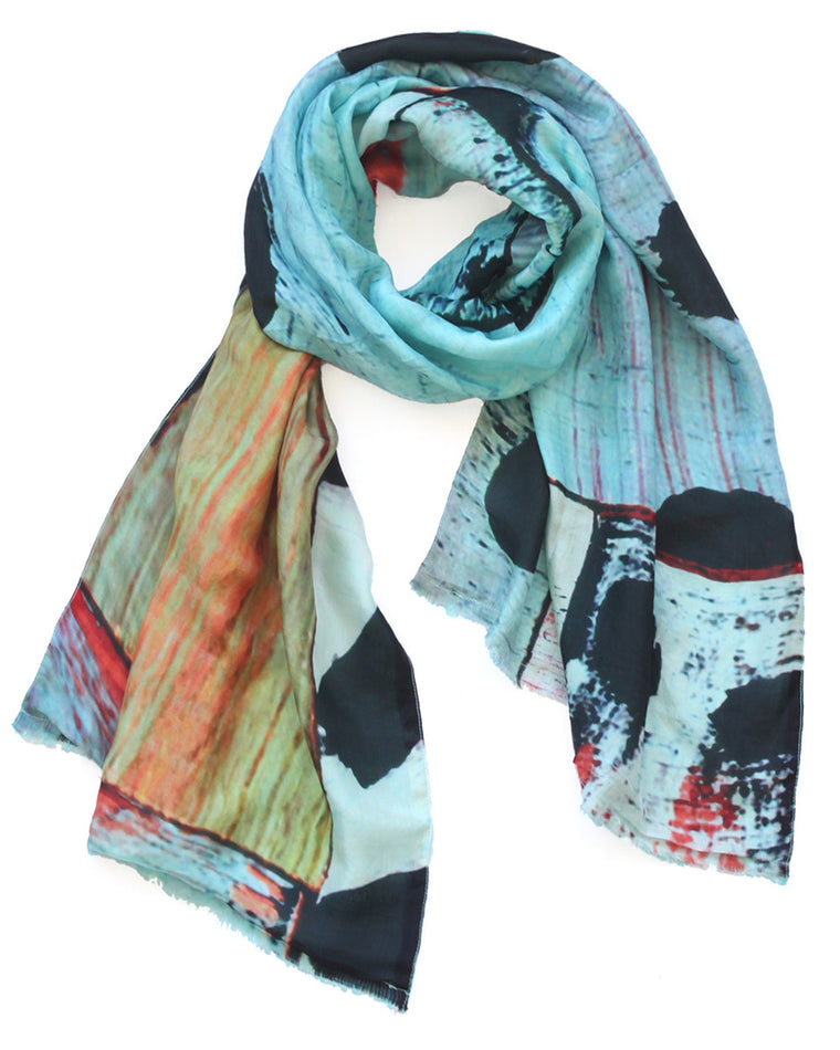 Landscape in Blue - Silk & Wool Scarf