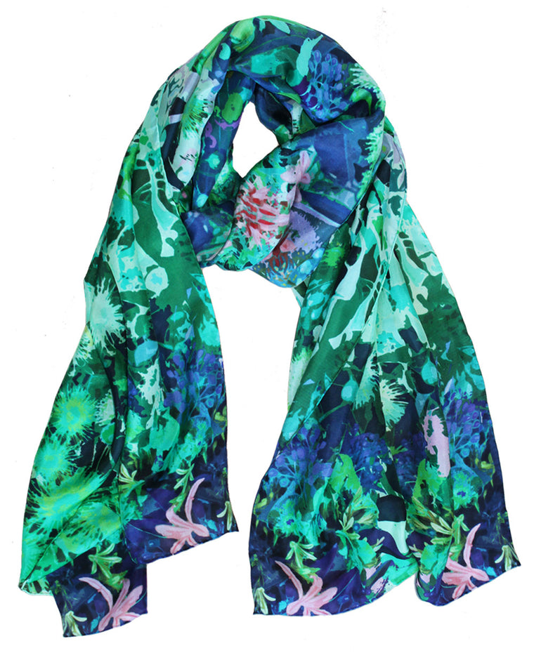 Native Bloom in Green - Silk Scarf