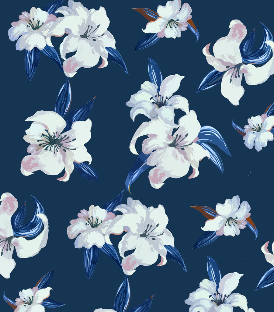 Print Design - Lillies Navy