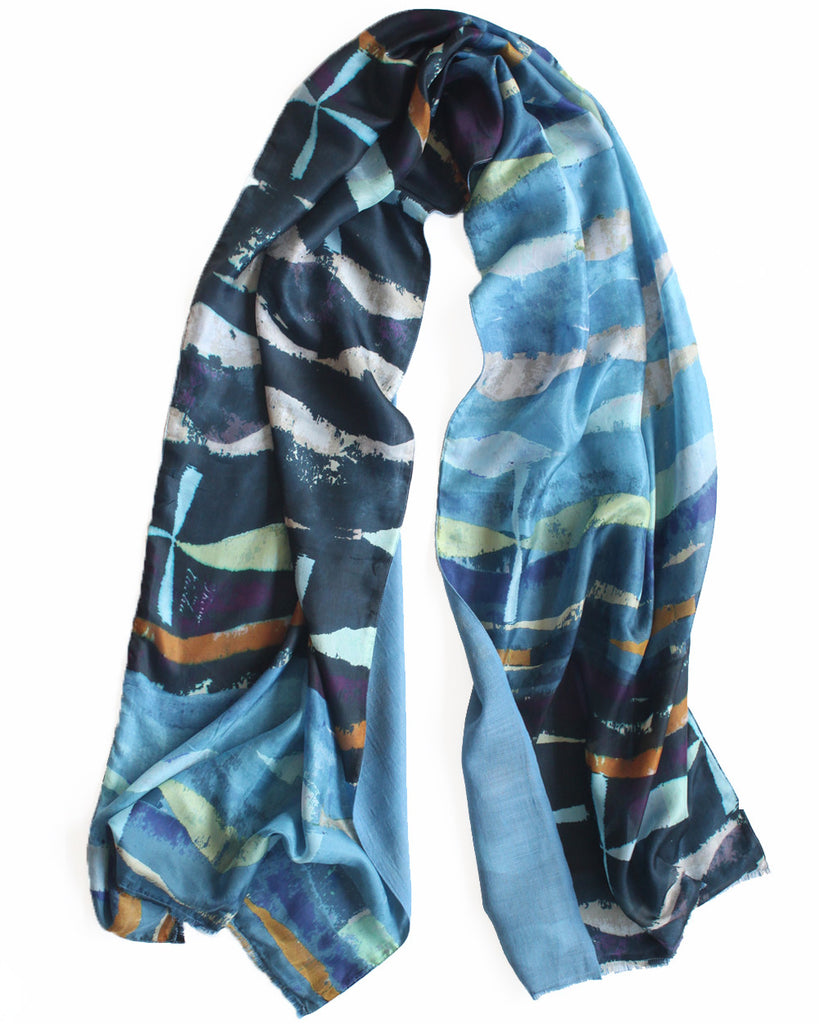 Atlantic - Silk scarf with wool backing