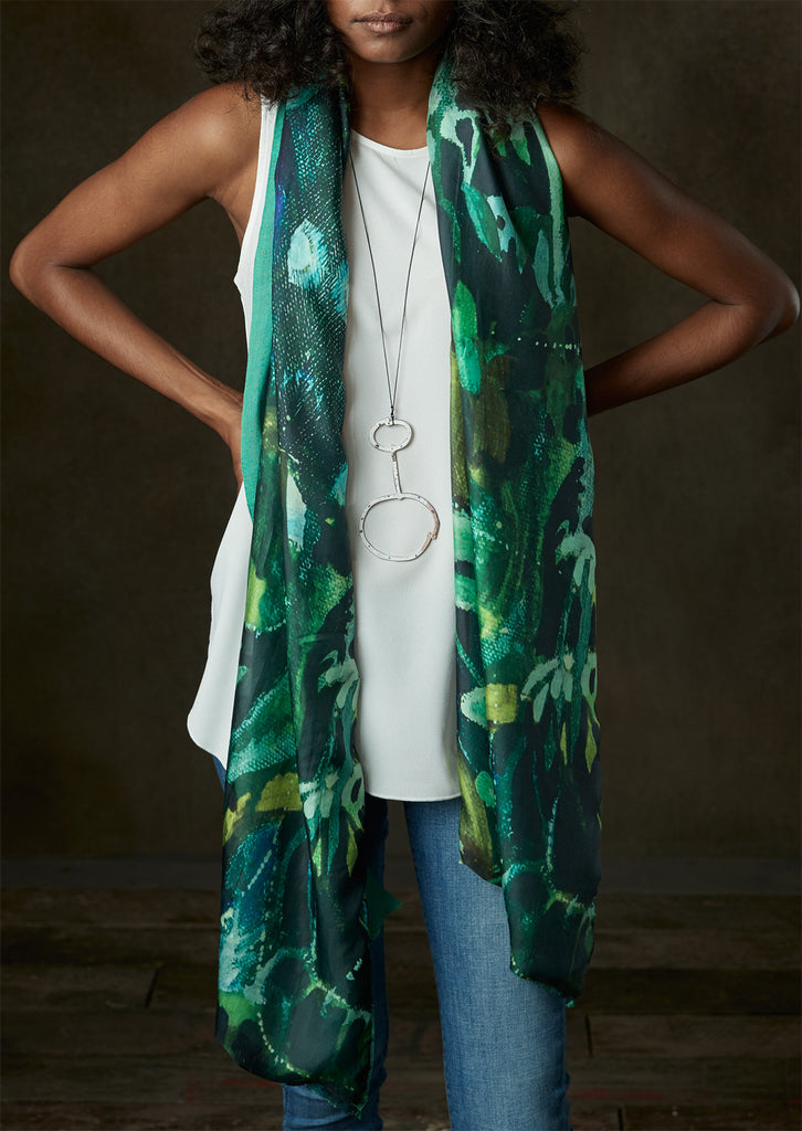 Deep Spring - Silk scarf with wool backing