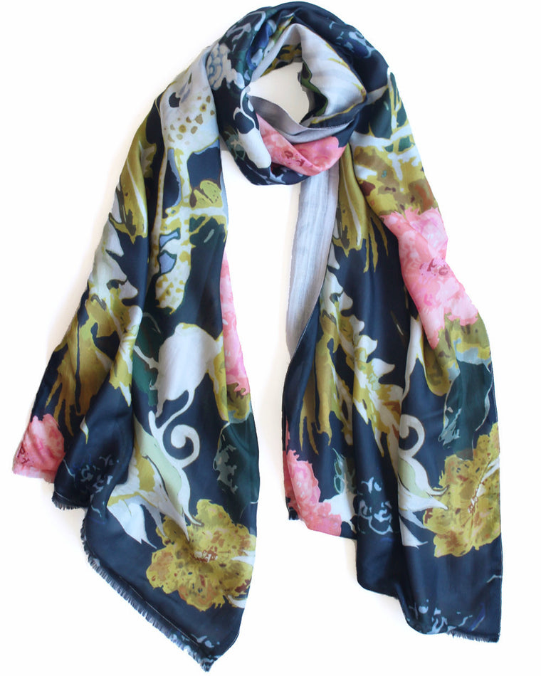 Phoenix - Silk scarf with wool backing