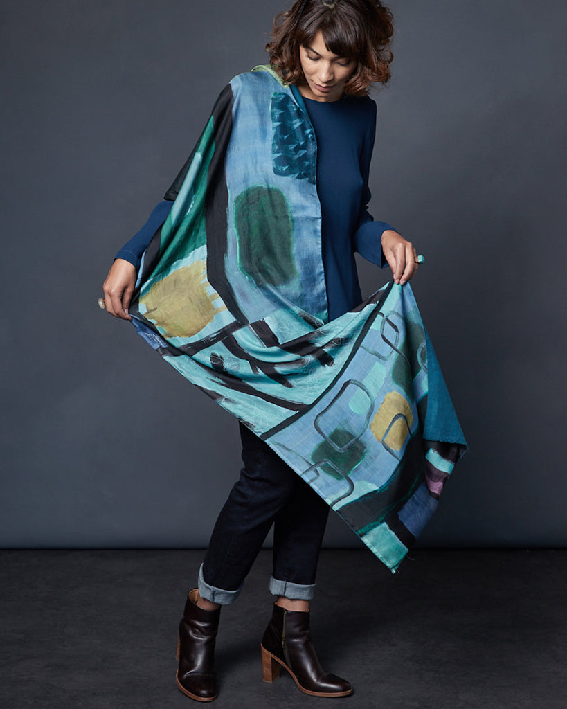 Lakeside - Silk scarf with wool backing