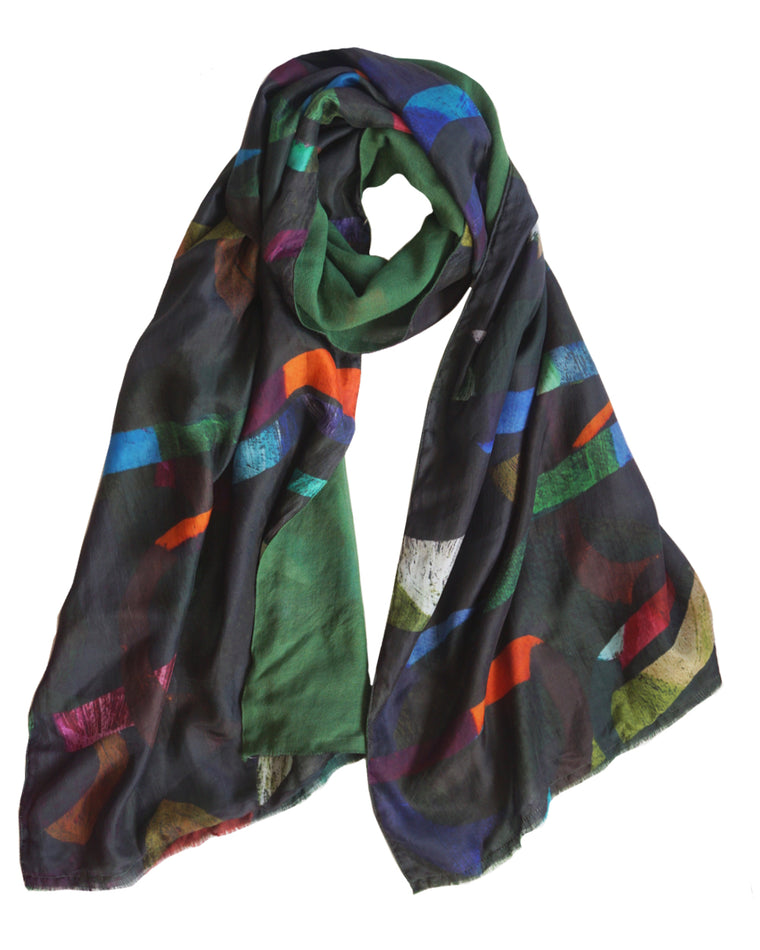 Loopy Dark - Silk scarf with wool backing