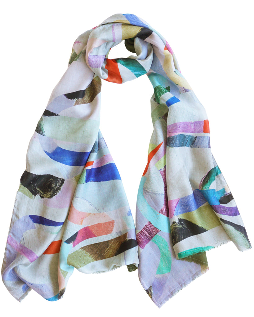 Loopy Light - Silk scarf with wool backing