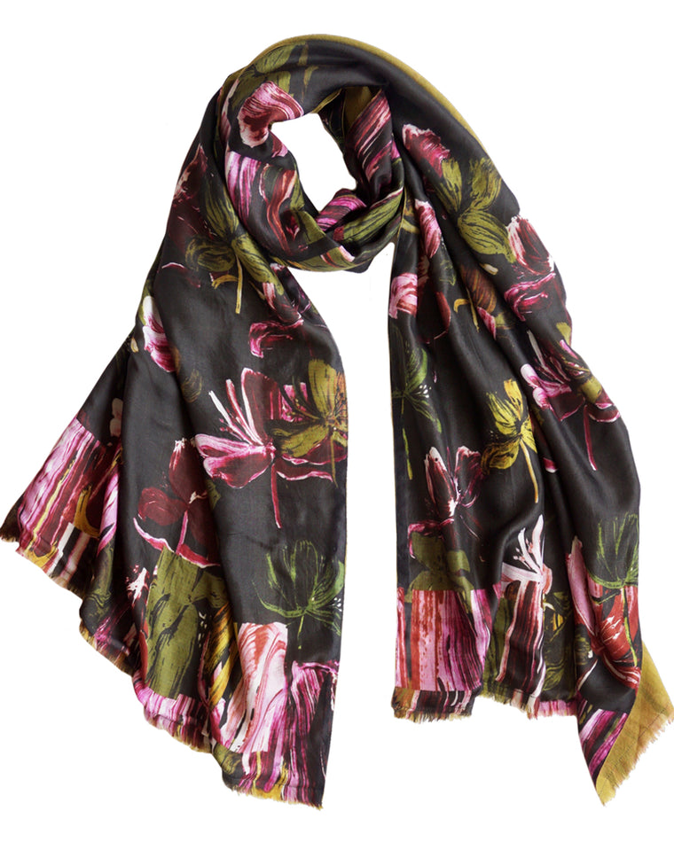 Marble Flower - Silk scarf with wool backing