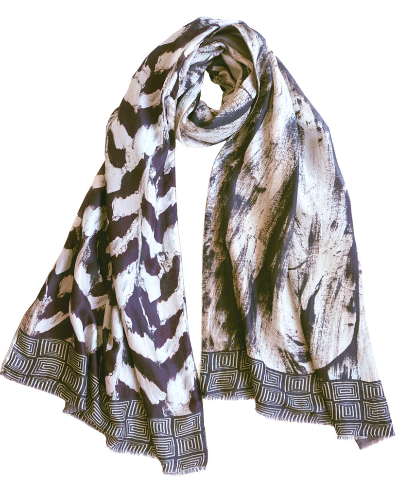 Plume - Silk scarf with wool backing