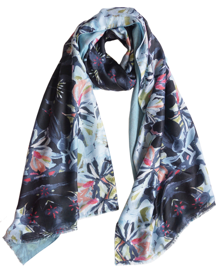 Tangle - Silk scarf with wool backing