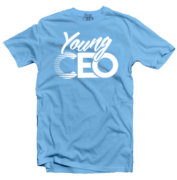 YOUNG CEO-YOUNG CEO WHITE LOGO CAROLINA  BLUE TEE