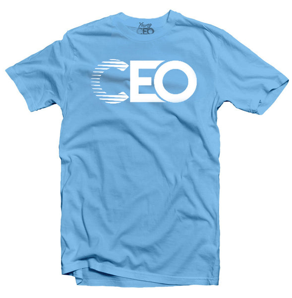 YOUNG CEO-CEO WHITE LOGO CAROLINA BLUE TEE