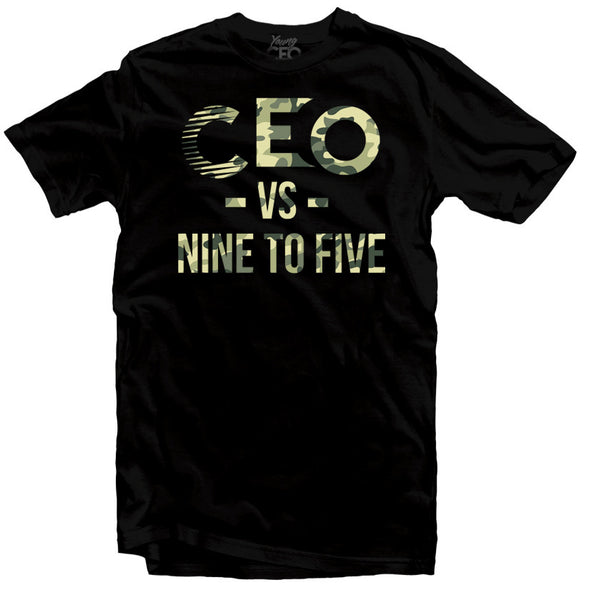 CEO NINE TO FIVE CAMO PRINT BLACK T-SHIRT