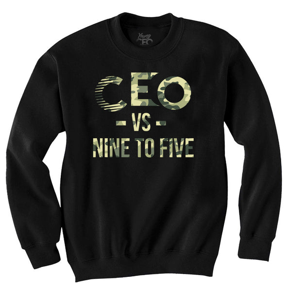 CEO NINE TO FIVE CAMO PRINT BLACK CREWNECK