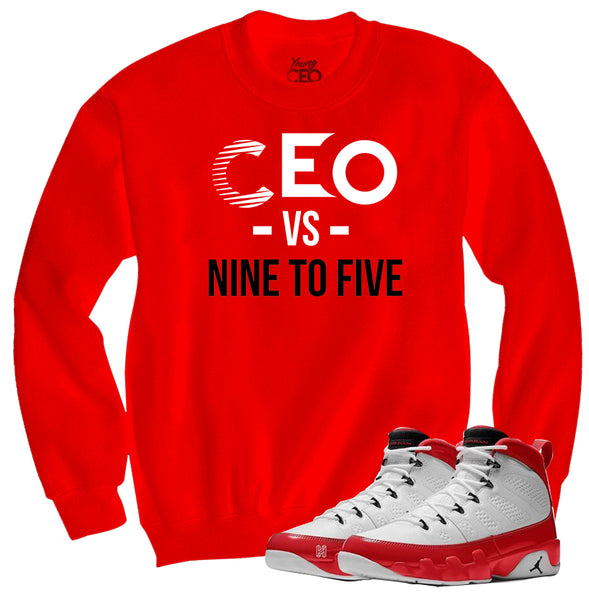 Jordan 9 gym red Ceo vs 9-5 red crewneck sweater-Young Ceo
