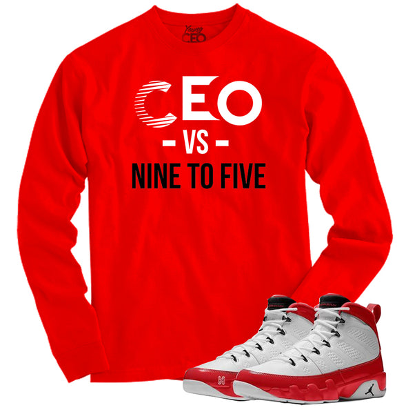 Jordan 9 gym red ceo vs 9-5 red long sleeve tee-Young Ceo