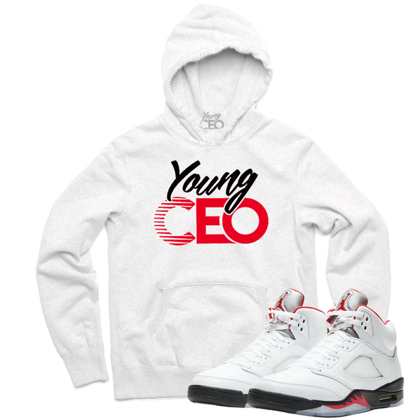 "Jordan 5 Fire Red ""Young CEO"" White Hoodie""-Young CEO"
