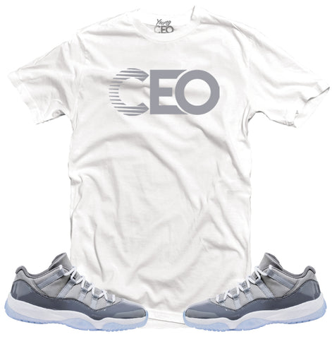 Jordan 11 cool grey Young Ceo white tee-Young Ceo