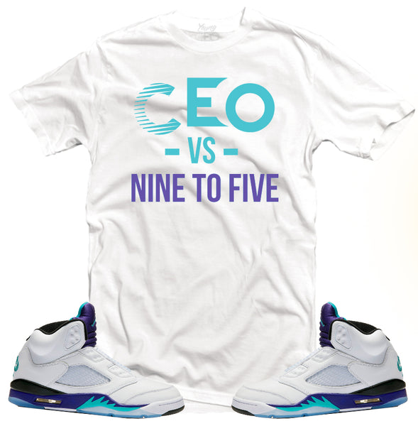 Jordan 5 grape Ceo vs 9-5 white tee-Young Ceo