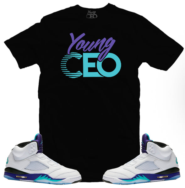 Jordan 5 grape Young Ceo black tee-Young Ceo