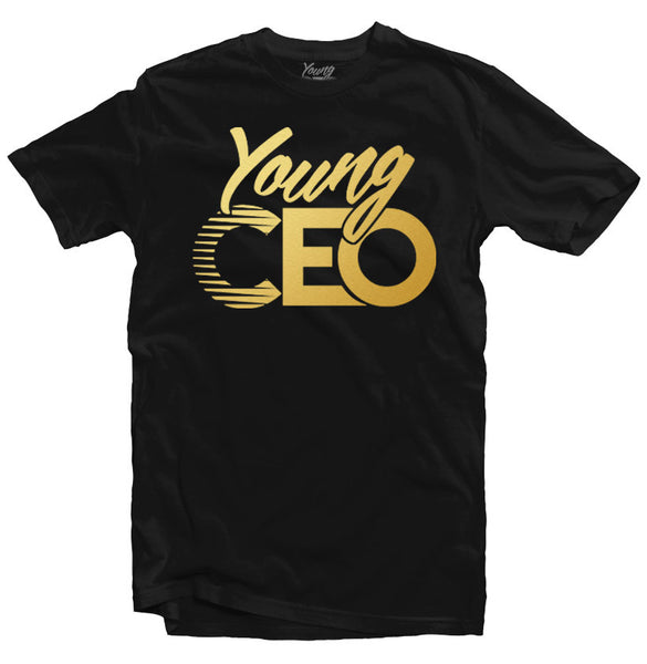 YOUNG CEO BLK TEE GOLD LOGO