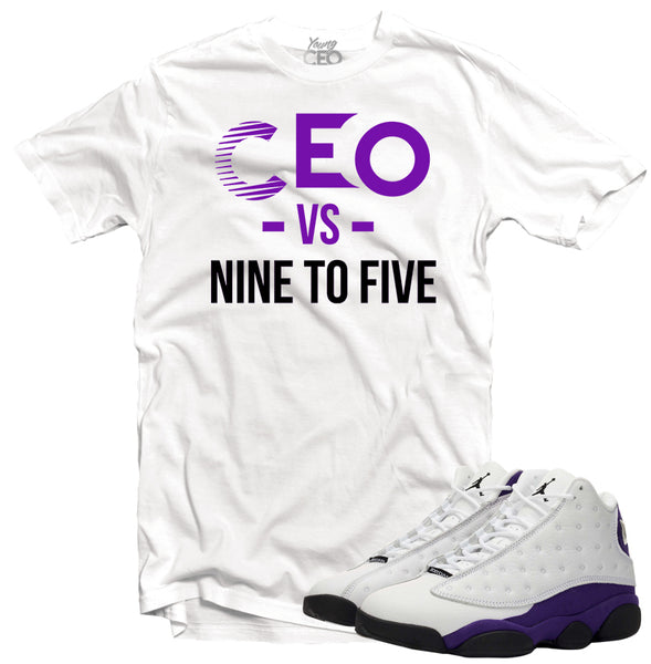 Jordan 13 lakers ceo vs 9-5 white tee-Young Ceo
