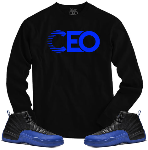 Jordan 12 game royal ceo black long sleeve tee-Young Ceo