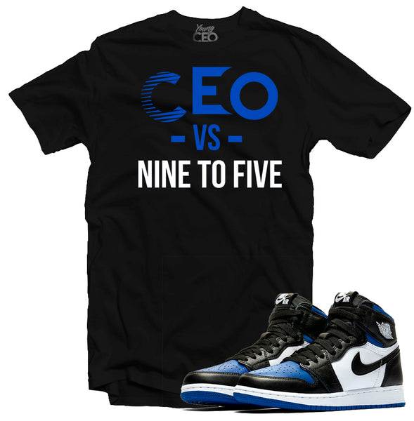 "Jordan 1 Royal ""Nine to Five"" Black Tee-Young CEO"