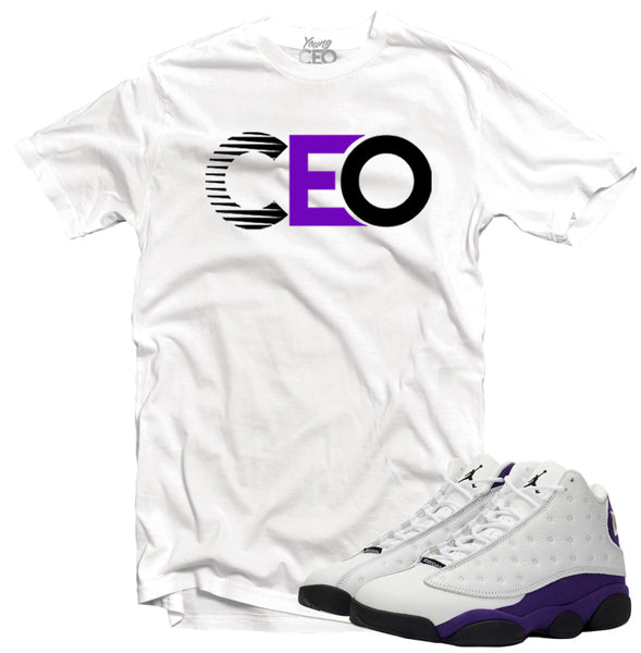 Jordan 13 lakers Ceo white tee-Young Ceo