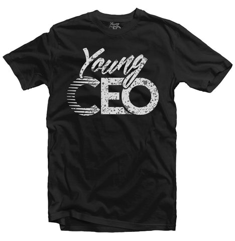 YOUNG CEO CEMENT PRINT BLK TEE
