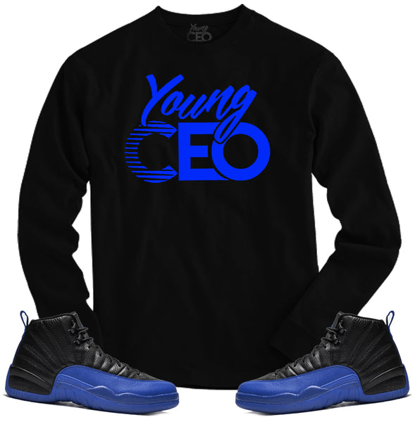 Jordan 12 game royal young ceo black long sleeve tee-Young Ceo