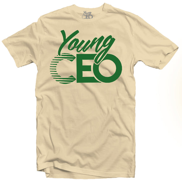 YOUNG CEO-YOUNG CEO FOREST GREEN LOGO CREAM TEE