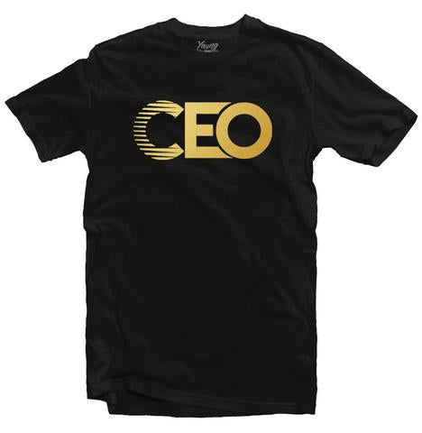 YOUNG CEO-YOUNG CEO GOLD LOGO BLACK TEE