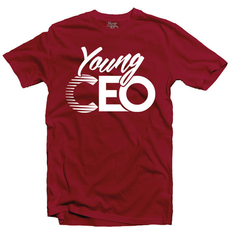 YOUNG CEO BURGUNDY TEE WHT LOGO