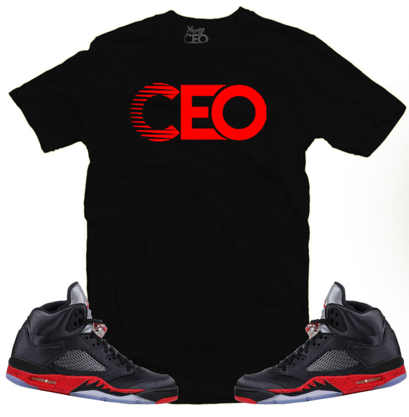 Jordan 5 satin CEO black tee-Young Ceo