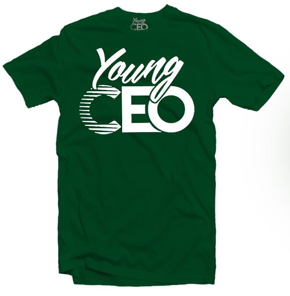 YOUNG CEO-YOUNG CEO WHITE LOGO FOREST GREEN TEE