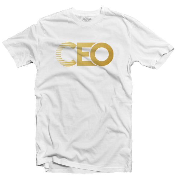CEO GOLD LOGO WHITE TEE