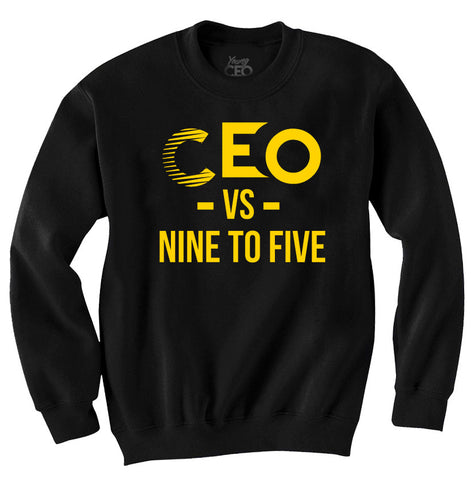 CEO vs 9-5 Yellow & Black Crew Neck