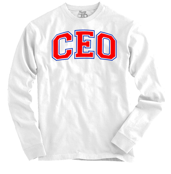 Ceo staple white long sleeve tee-Lacing Up