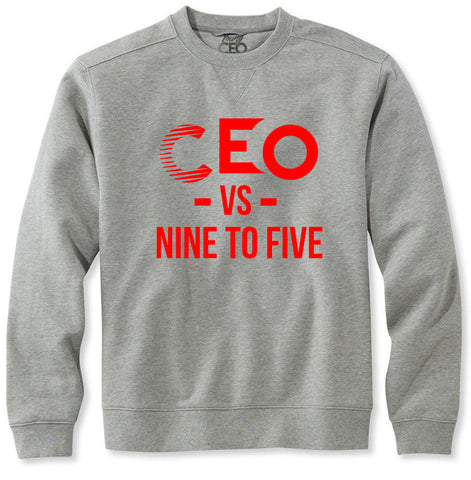 CEO vs 9-5 Red & Heather Grey crew Neck