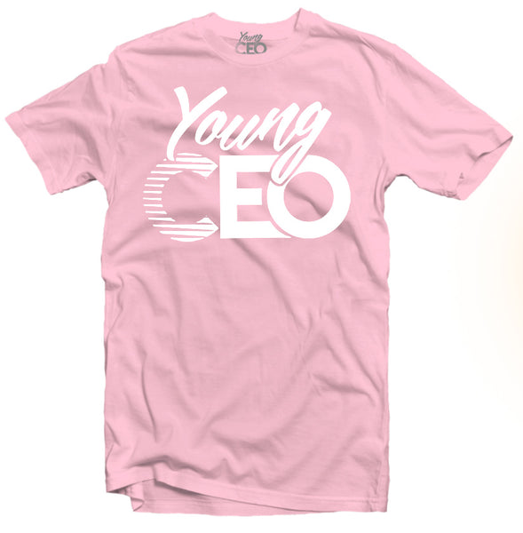 YOUNG CEO-YOUNG CEO WHITE LOGO LIGHT PINK TEE