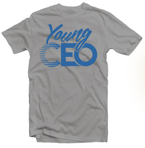 YOUNG CEO-YOUNG CEO TRUE BLUE LOGO SILVER TEE