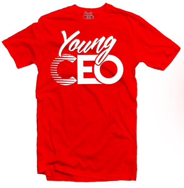 YOUNG CEO-YOUNG CEO WHITE LOGO RED TEE