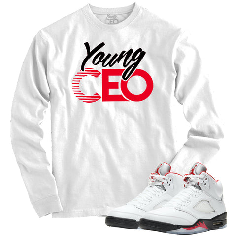 "Jordan 5 Fire Red  ""Young CEO"" White Crewneck-Young CEO"