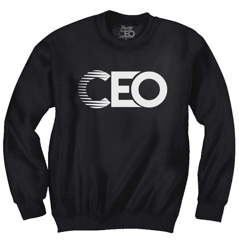 CEO BLACK CREW NECK WHITE LOGO