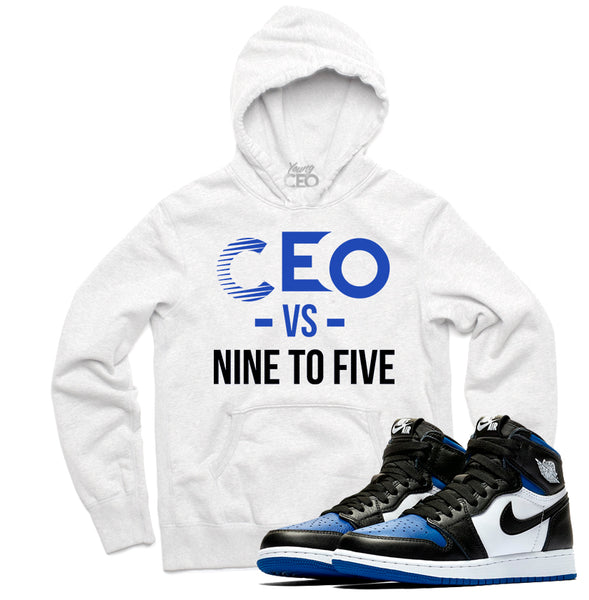 Jordan 1 Royal Staple White Hoodie-Young CEO