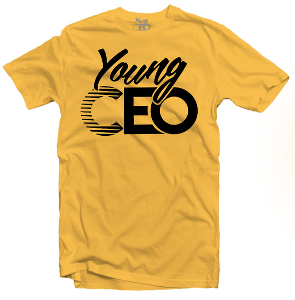YOUNG CEO-YOUNG CEO BLACK LOGO MUSTARD TEE