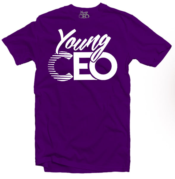 YOUNG CEO-YOUNG CEO LOGO WHITE TEE PURPLE TEE