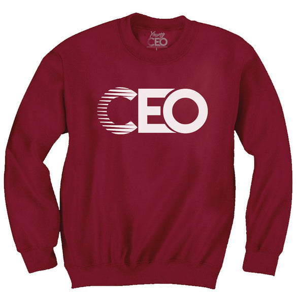 CEO BURGUNDY CREWNECK WHITE LOGO