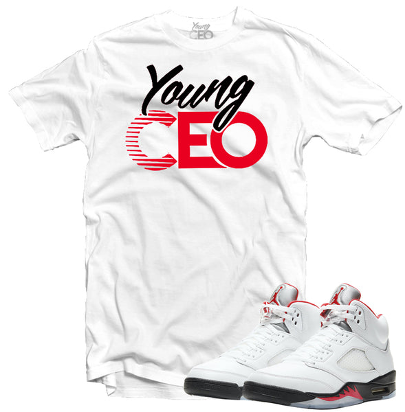 "Jordan 5 Fire Red ""Young CEO"" White Tee-Young CEO"